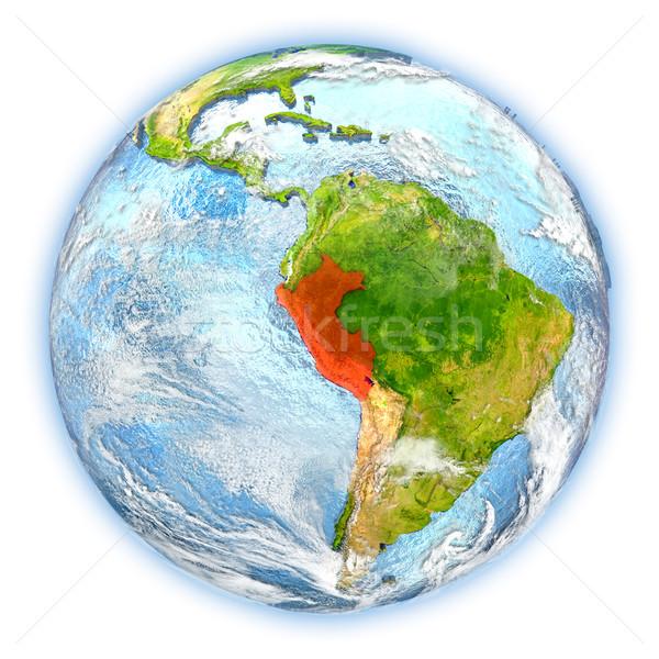 Peru Föld izolált piros Föld 3d illusztráció Stock fotó © Harlekino