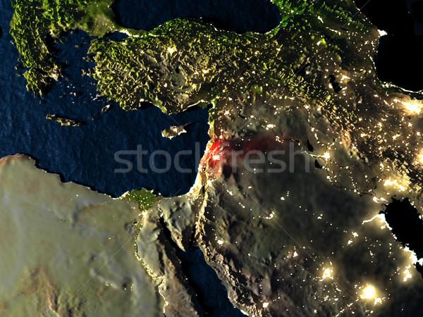 Lebanon in red from space at night Stock photo © Harlekino