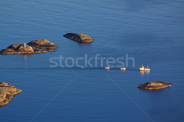 Oiseau oeil vue pêche bateaux voile Photo stock © Harlekino