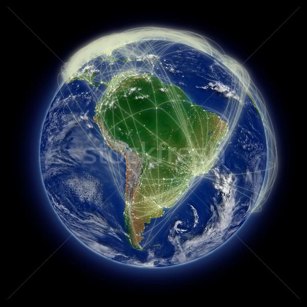 Red américa del sur vuelo azul planeta tierra aislado Foto stock © Harlekino