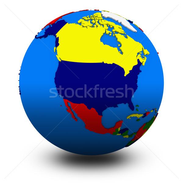 north America on political globe illustration Stock photo © Harlekino