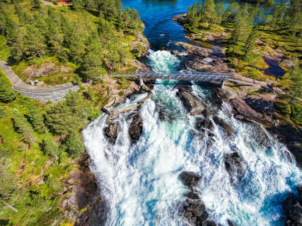 Likholefossen waterfall from above Stock photo © Harlekino