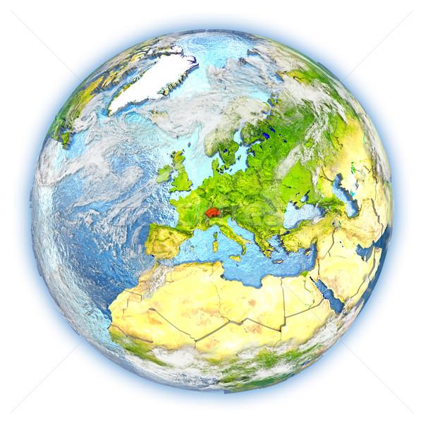 Zwitserland aarde geïsoleerd Rood aarde 3d illustration Stockfoto © Harlekino