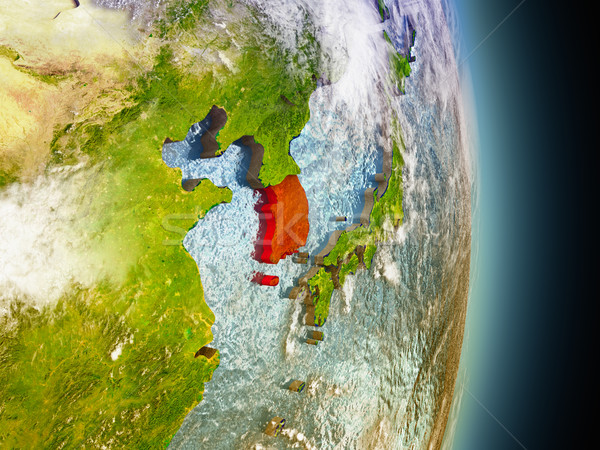 South Korea in red from space Stock photo © Harlekino