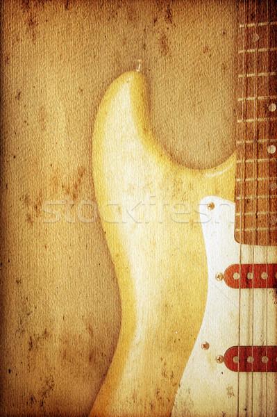 Gitar güzel eski nostaljik kullanılmış bakmak Stok fotoğraf © Hasenonkel