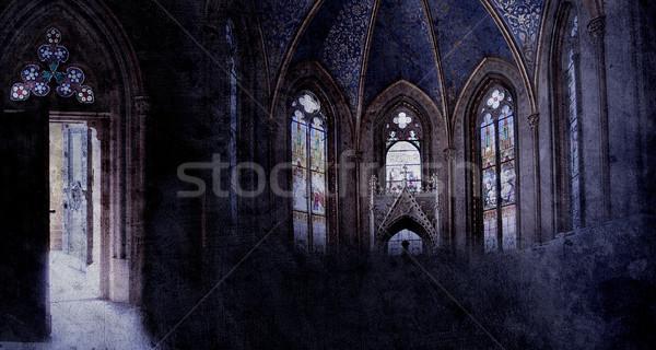 Oude retro kerk gothic stijl papier Stockfoto © Hasenonkel