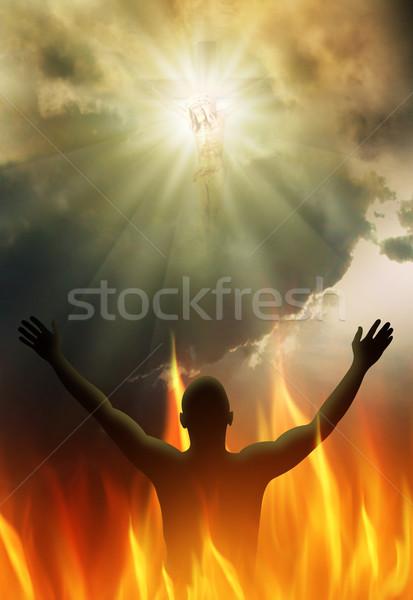 Luz Jesús Cristo cruz brillante manos Foto stock © Hasenonkel