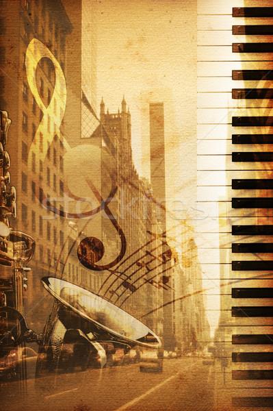 Broadway oude historisch New York muziek textuur Stockfoto © Hasenonkel