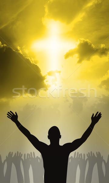 Cross Gesù Cristo mani culto silhouette Foto d'archivio © Hasenonkel