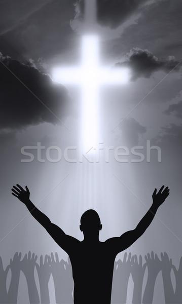 çapraz İsa Mesih eller ibadet siluet Stok fotoğraf © Hasenonkel