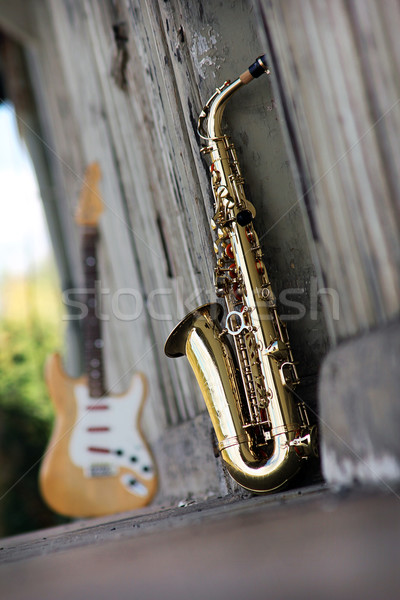 old grungy saxophone Stock photo © Hasenonkel