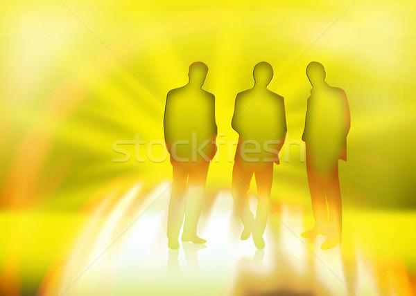 üzletember három üzletemberek üzlet iroda tűz Stock fotó © Hasenonkel