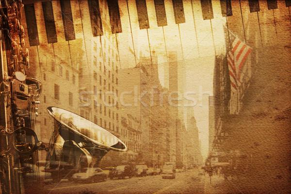 Broadway muziek oude historisch New York achtergrond Stockfoto © Hasenonkel