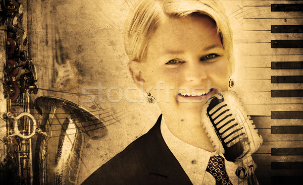 dirty music background with piano and singer Stock photo © Hasenonkel