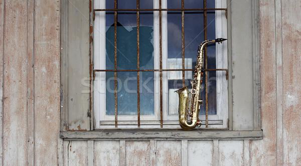 Stockfoto: Oude · saxofoon · retro · textuur · hout