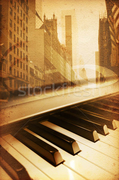 Broadway velho histórico Nova Iorque música textura Foto stock © Hasenonkel