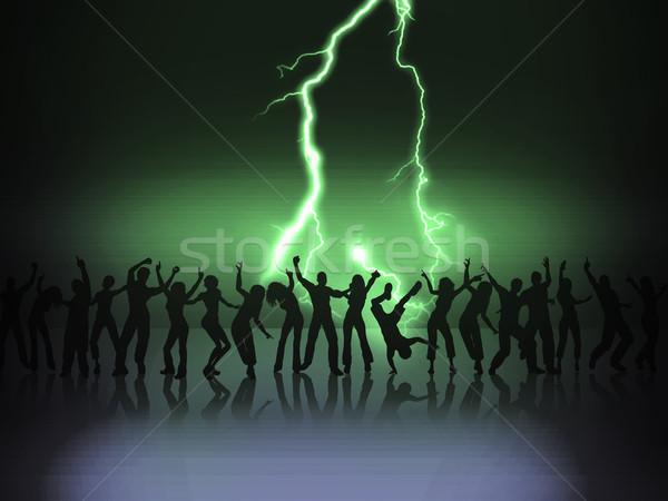 Grupy wiele szczęśliwych ludzi taniec etapie kobieta Zdjęcia stock © Hasenonkel