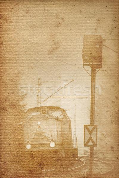 古い 鉄道 紙 歴史的 機関車 信号 ストックフォト © Hasenonkel