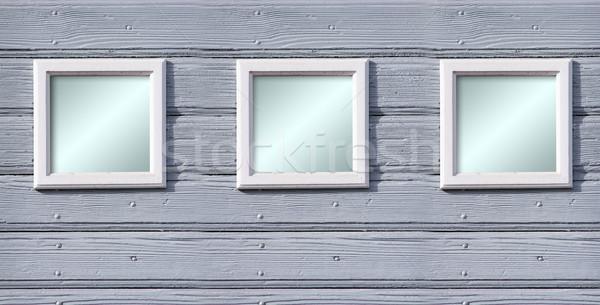 木材 フレーム 古い 白 壁 ストックフォト © Hasenonkel