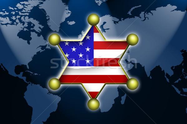 Sheriff Egyesült Államok világ Föld biztonság csillagok Stock fotó © Hasenonkel