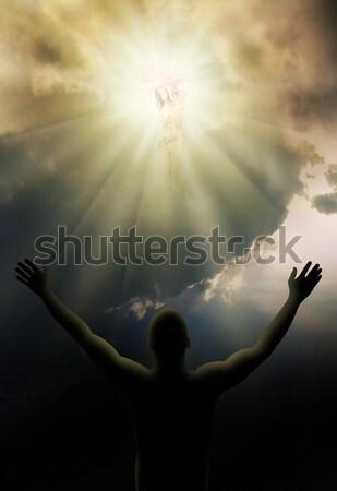 ışık İsa Mesih çapraz parlak eller Stok fotoğraf © Hasenonkel