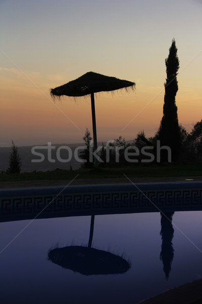 Straw umbrella in the sunset Stock photo © Hasenonkel
