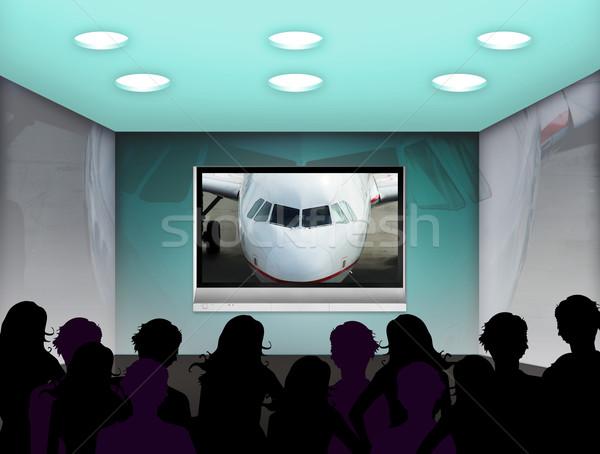 Mediów pokój osoczu telewizji ściany projektu Zdjęcia stock © Hasenonkel
