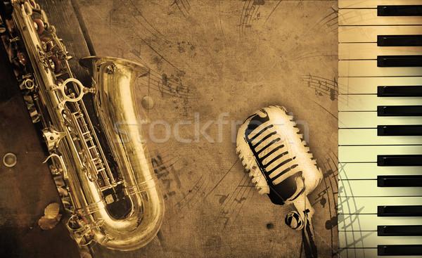Koszos zene zongora szépia papír textúra Stock fotó © Hasenonkel