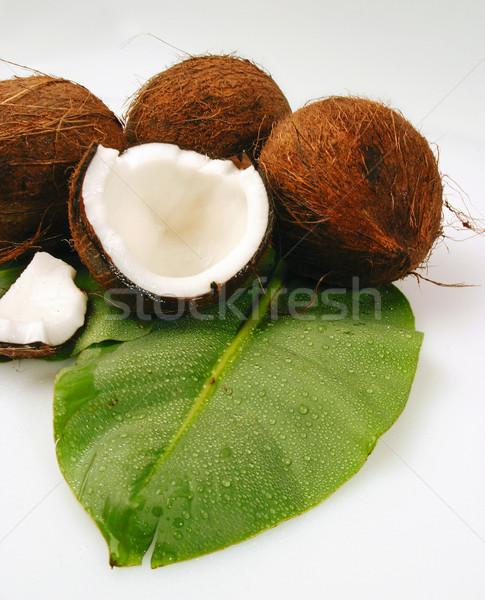 ストックフォト: ココナッツ · 熱帯 · ココナッツ · 緑 · ヤシの葉 · 食品