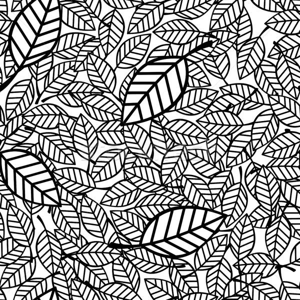 Levelek végtelen minta feketefehér természet háttér fekete Stock fotó © hayaship