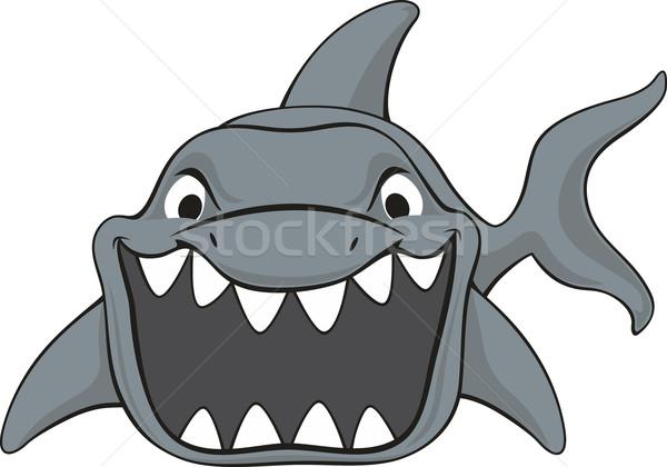 Cápa rajz izolált fehér hal boldog Stock fotó © hayaship
