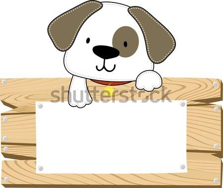 cute puppy blank board Stock photo © hayaship