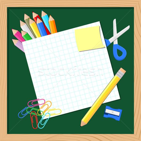 школьные принадлежности чистый лист бумаги копия пространства доске образование знак Сток-фото © hayaship