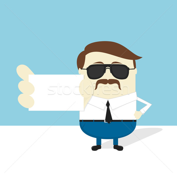 serious businessman with sunglasses and mustache Stock photo © hayaship