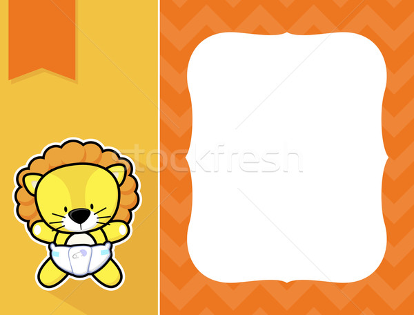 Keret baba oroszlán aranyos kicsi pelenka Stock fotó © hayaship