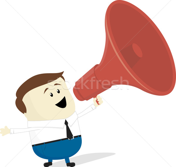 businessman cartoon with bullhorn Stock photo © hayaship