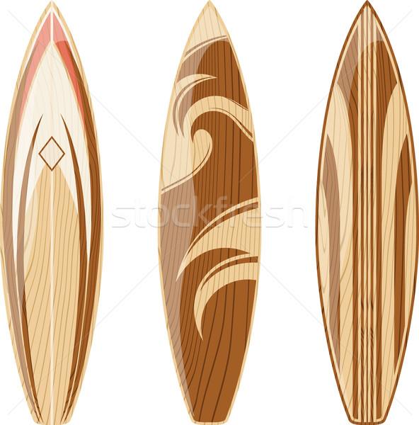 Fából készült szörfdeszkák izolált fehér vektor formátum Stock fotó © hayaship