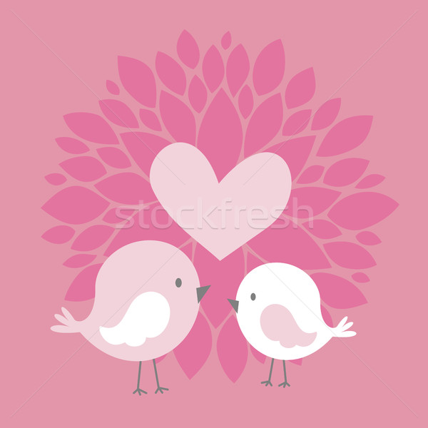 cute birds with heart and abstract dahlia flower Stock photo © hayaship