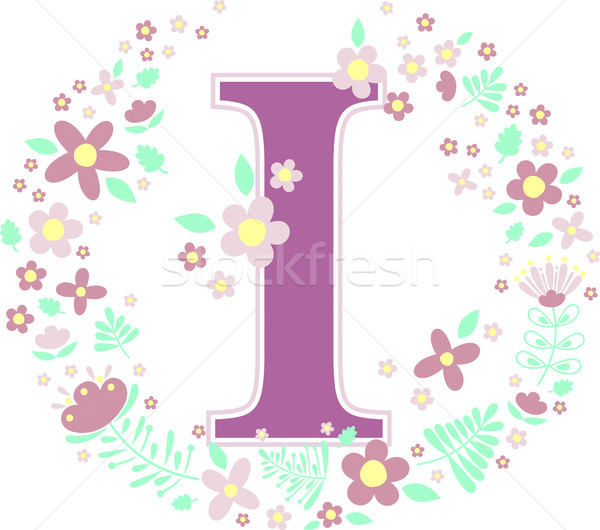 initial letter i with decorative flowers Stock photo © hayaship
