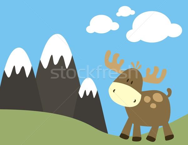 Kinderachtig eland natuur baby herten gemakkelijk Stockfoto © hayaship