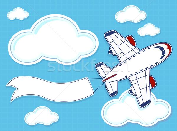 Avion cartoon bannière illustration drôle bleu Photo stock © hayaship