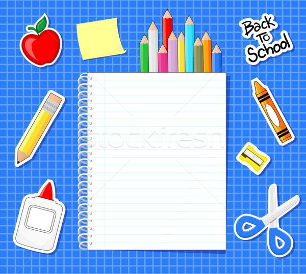 Schoolbenodigdheden stickers notebook Blauw grid achtergrond Stockfoto © hayaship