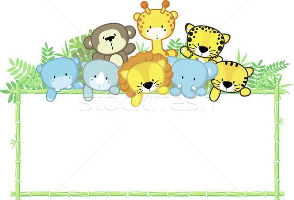 cute baby animals safari frame vector illustration © sergio hayashi ...