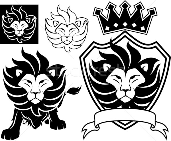 Lion icône vecteur tête dessins isolé Photo stock © hayaship