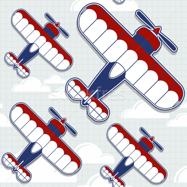 Vliegtuigen naadloos grappig cartoon patroon Stockfoto © hayaship
