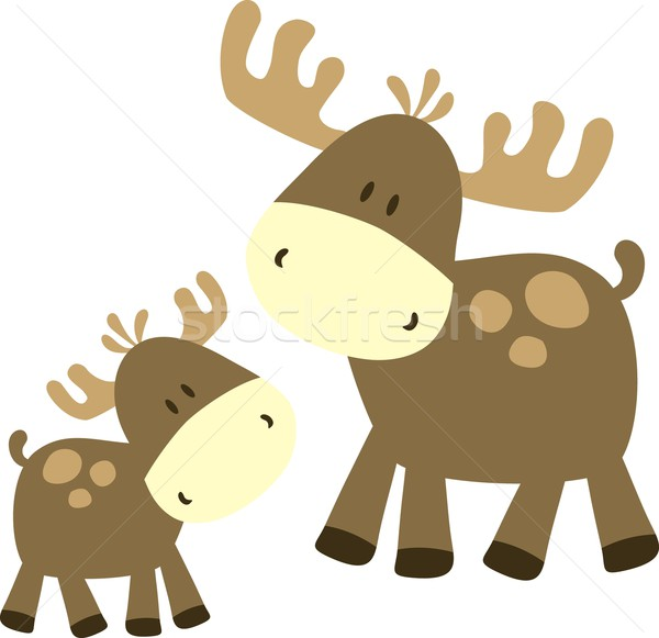 Stock photo: baby moose and parent