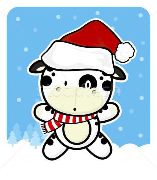 Cute bébé vache rouge chapeau Photo stock © hayaship
