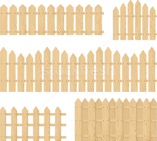 Bois clôture vecteur isolé blanche Photo stock © hayaship