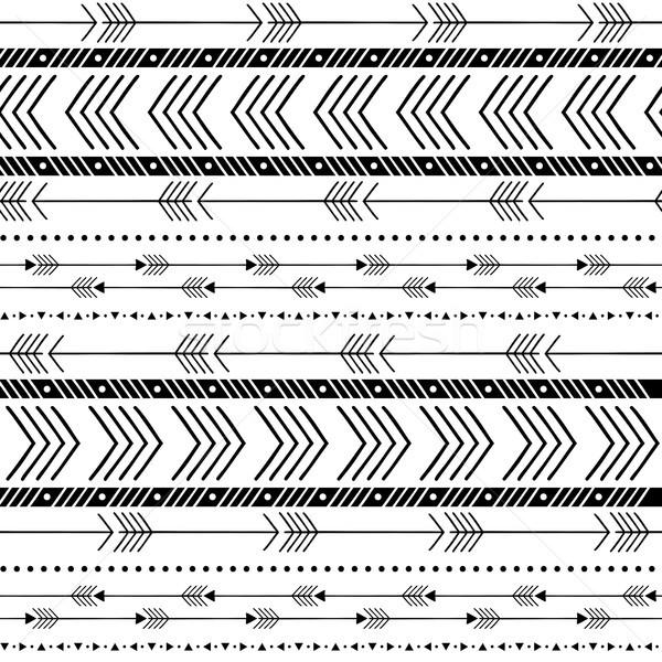 In bianco e nero tribali arrow senza soluzione di continuità texture Foto d'archivio © hayaship