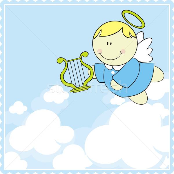 Baby cherub mały harfa nieba niebo Zdjęcia stock © hayaship